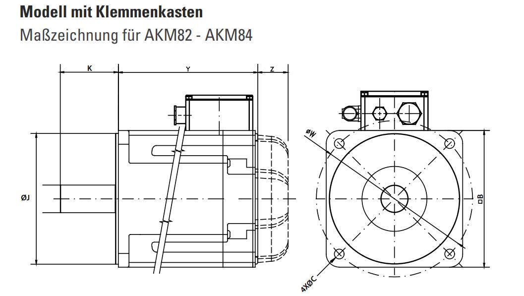 Maße Kollmorgen Servomotor AKM