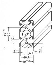 Aluminium Profil 30 x 60 x 100