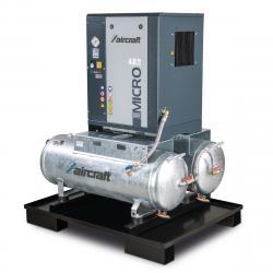 Schraubenkompressor mit Rippenbandriemenantrieb auf 2 x 100 l Behälter A-DUO-MICRO SE 4.0-10 2x100