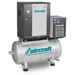 Schraubenkompressor mit Rippenbandriemenantrieb auf Behälter mit angebautem Kältetrockner A-MICRO SE 4.0-10-200 K