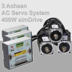 simDrive 3 Achsen AC Servo System 400W Set